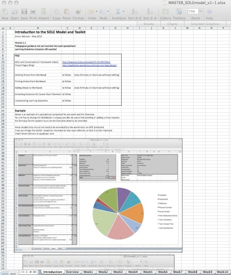Screen  Shoot of Introduction Spreadsheet from Toolkit