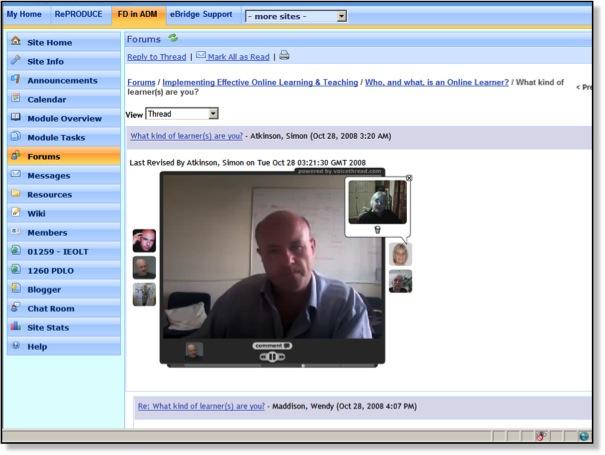 Teaching Online 2008 - VoiceThread in Sakai